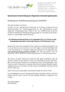 Einladung zur Auftaktveranstaltung zur Fortschreibung des Regionalen Entwicklungskonzeptes der LEADER-Region Hadler Region